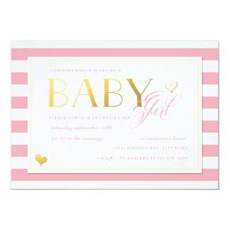 Pink & White Stripe Baby Girl Shower with Gold 13 Cm X 18 Cm Invitation Card