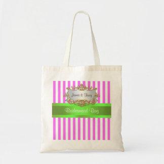 Pink White Stripe, Lime Green Ribbon Canvas Bag