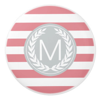 Pink & White Stripe with Grey Monogram Ceramic Knob