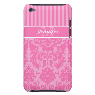 Pink, White Striped Damask iPod Touch Case