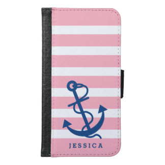 Pink & White Stripes Blue Nautical Boat Anchor