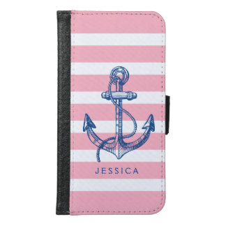Pink & White Stripes Blue Nautical Boat Anchor 2