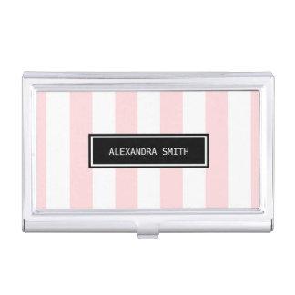 Pink & White Stripes Business Card Holder