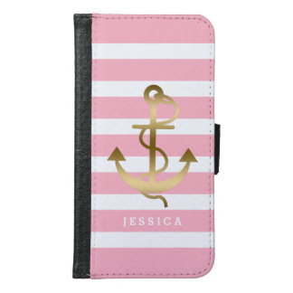 Pink & White Stripes Gold Nautical Boat Anchor