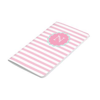 Pink & white stripes, Monogram Pocket Journal