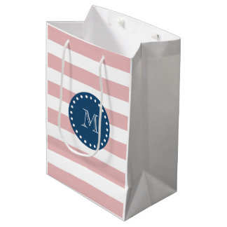 Pink White Stripes Pattern, Navy Blue Monogram Medium Gift Bag