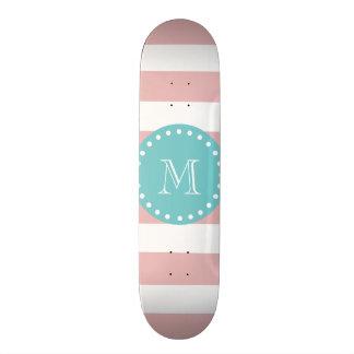 Pink White Stripes Pattern, Teal Monogram Skate Board Deck