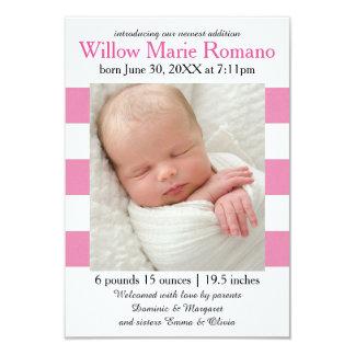 Pink/White Stripes Photo - 3x5 Birth Announcement
