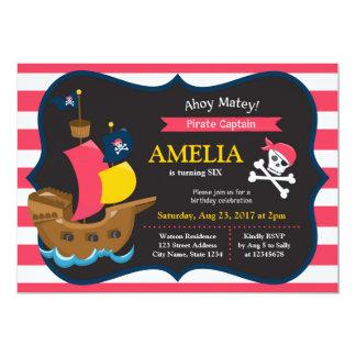 Pink White Stripes Pirate Ship Birthday Invitation