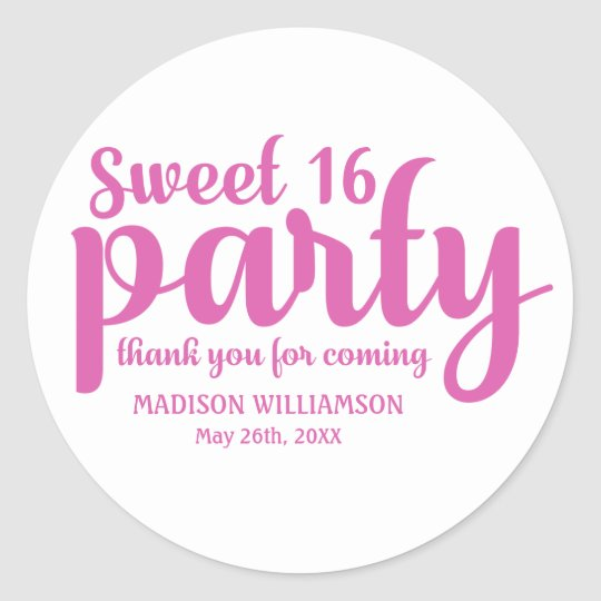 Pink & White Sweet 16 Thank You Personalised Classic Round Sticker