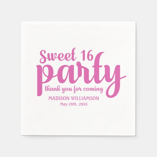 Pink & White Sweet 16 Thank You Personalised Disposable Serviette