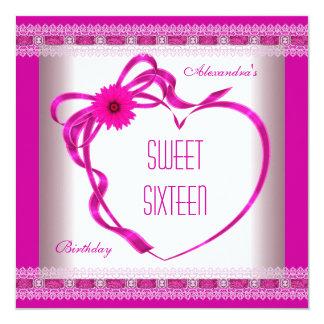 Pink White Sweet Sixteen 16 Birthday Heart Bow 3 13 Cm X 13 Cm Square Invitation Card