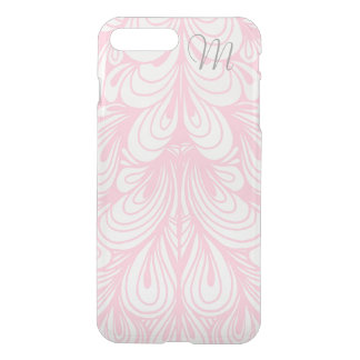 Pink White Swirl Floral Monogram Clear Iphone Case