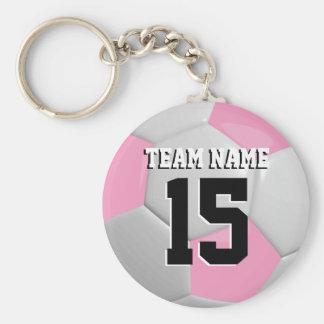 Pink & White Team Soccer Ball Basic Round Button Key Ring
