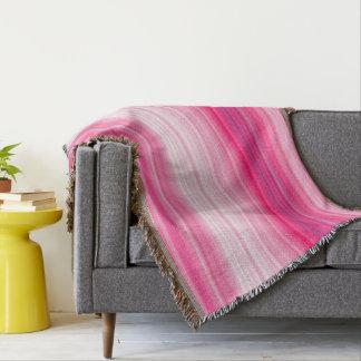 Pink & white throw blanket