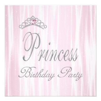 Pink White Tiara Girls Princess Birthday Party Custom Invitation
