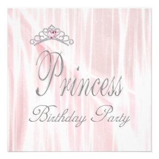 Pink White Tiara Girls Princess Birthday Party Invites