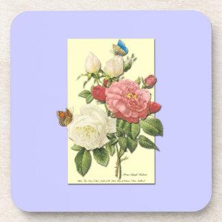 Pink White Vintage Botanical Roses Coasters