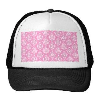 Pink White Vintage Damask Pattern 1 Cap
