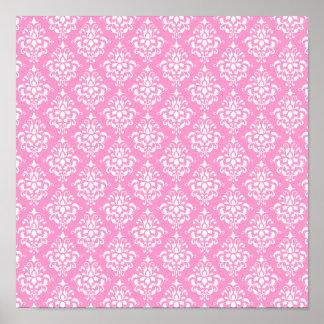 Pink White Vintage Damask Pattern 1 Poster