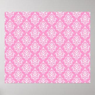 Pink White Vintage Damask Pattern 1 Print