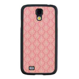 Pink White Vintage Damask Pattern 1Chic, pink and Carved® Maple Galaxy S4 Case