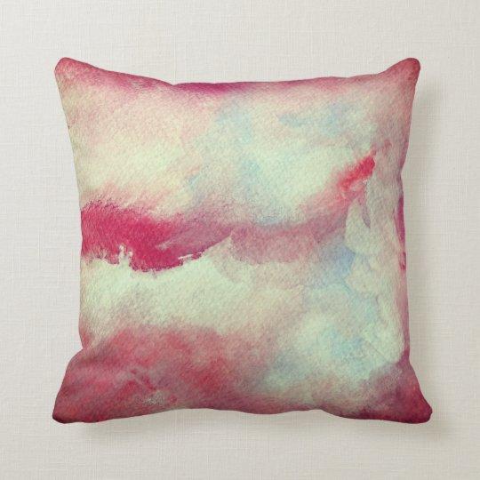 Pink White Watercolor Art Throw Cushion