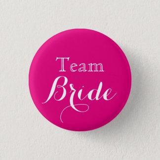 Pink White Wedding Team Bride 3 Cm Round Badge