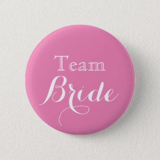 Pink White Wedding Team Bride 6 Cm Round Badge
