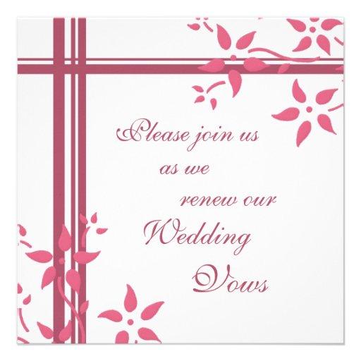 Pink Amp White Wedding Vow Renewal Invitations