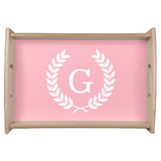 Pink White Wheat Laurel Wreath Initial Monogram Serving Platter