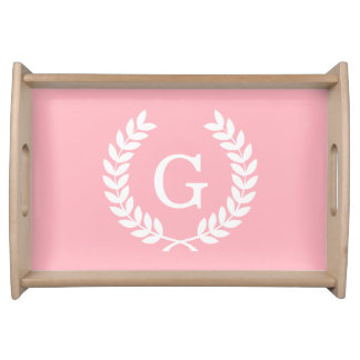 Pink White Wheat Laurel Wreath Initial Monogram Serving Tray