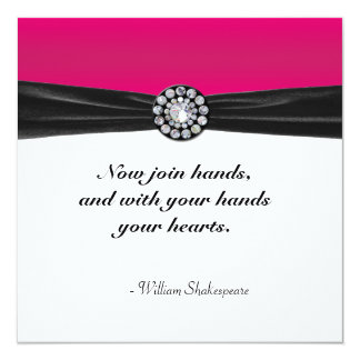 "Pink & White With Black Velvet & Diamond Wedding 5.25"" Square Invitation Card"