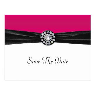 Pink & White With Black Velvet & Diamond Wedding Postcard