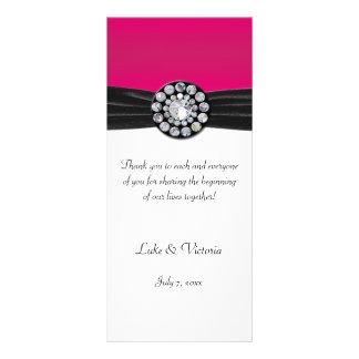 Pink & White With Black Velvet & Diamond Wedding Rack Card