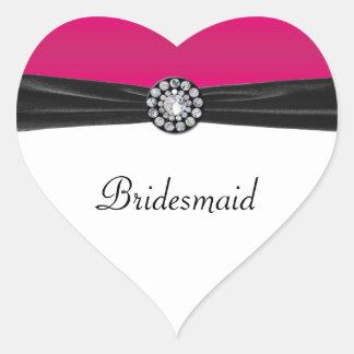 Pink & White With Black Velvet & Diamond Wedding Heart Sticker