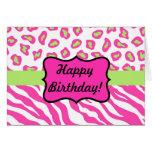 Pink & White Zebra & Cheeta Skin Personalised Greeting Card