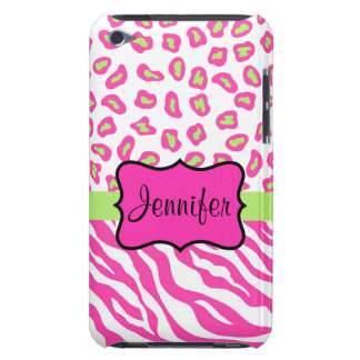 Pink & White Zebra & Cheeta Skin Personalized Barely There iPod Covers
