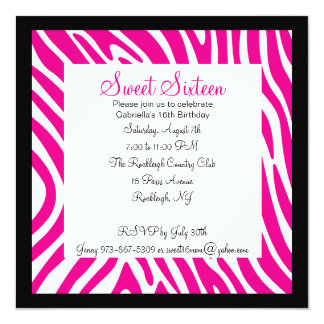 Pink & White Zebra Girls Sixteenth Birthday Invite