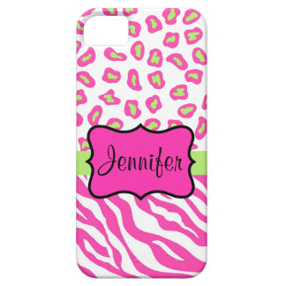 Pink White Zebra Leopard Skin Name Personalized iPhone 5 Cases