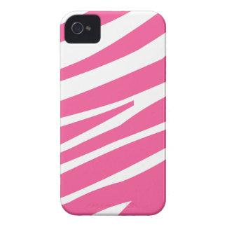Pink white zebra stripe fun stylish iphone 4 case