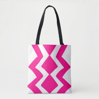 Pink White ZigZag Design Tote Bag