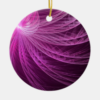 Pink Whorl Abstract Fractal Round Ceramic Decoration