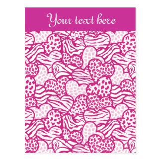 Pink Wild animals hearts Design Postcard Postcard