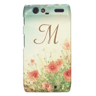 Pink Wild Flowers Monogram Motorola Razr Cas Droid RAZR Cover