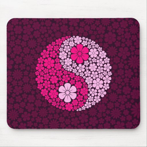 Pink Wild Flowers Yin Yang Mouse Pad