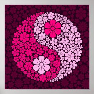 Pink Wild Flowers Yin Yang Print