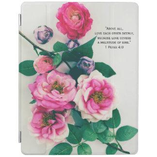 Pink Wild Rose Flower Bouquet Love Bible Verse iPad Cover