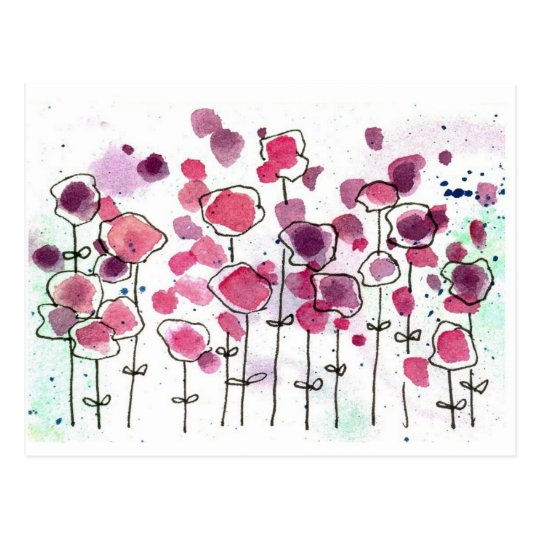 Pink Wildflower Meadow Watercolor Flowers Postcard