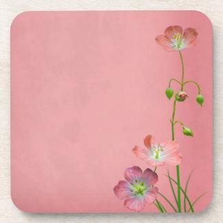 Pink Wildflower on Burgundy Drink Coaster